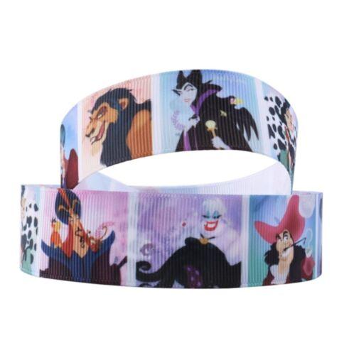 By The Yard 1 Inch Printed Disney Villains Grosgrain Ribbon Lisa
