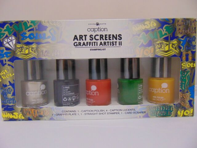 Young Nails Caption Nail Art Screen Graffiti Artist Stamping Kit of ...