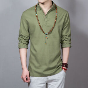 Men-Natural-Linen-Pullover-Button-Neck-Shirt-Top-T-Shirt-Mandarin-Collar-Chinese