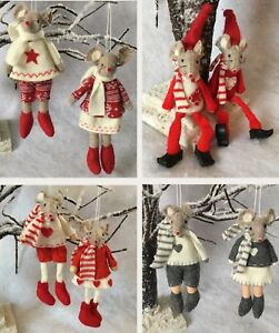 image is loading pair of felt mice hanging christmas decorations fabric