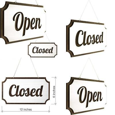 Decorative Open-Closed Sign 12 х 6 Inches Double-Sided Open Sign Toros.Store Rustic Open Closed Sign Open and Closed Sign for Business Vintage Style Wood Closed Sign