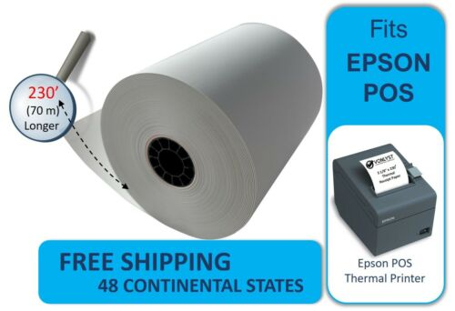 Receipt Paper Roll 3 1//8 x 230 for Epson Thermal Printer 12 rolls