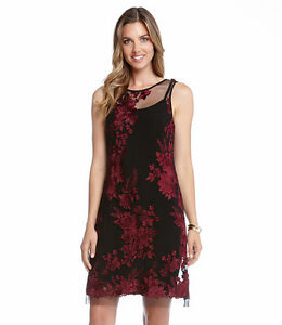 Karen-Kane-New-Wine-Red-amp-Black-Embroidered-Tulle-Lace-Dress-Sizes-M-L-XL-USA