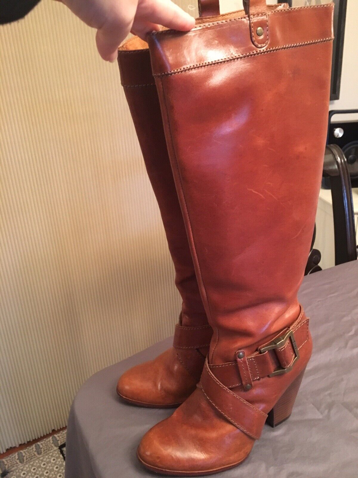 Frye Andrea Belted Tall Zip Cognac Tan Leather Boots shoes 8