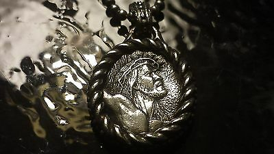"Scott Kay Unkaged Christ Medallion On Sterling Silver Beaded 20"""