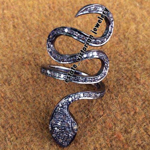 Antique Finished 1.28Ct Real Rose Cut Diamond Silver Gorgeous Snake Ring Jewelry