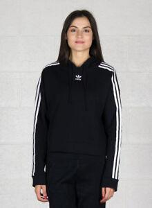 Adidas Cropped hoodie Felpa Nera Donna 38 Nero