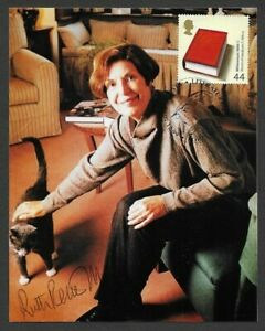 World of Literature stamped photo card signed RUTH RENDELL