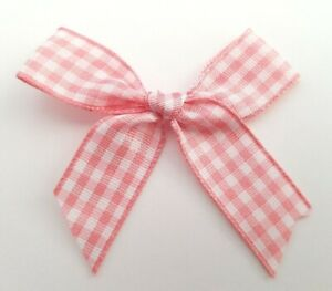 Baby-Pink-Gingham-15mm-5-5cm-Satin-Ribbon-Ready-Made-Craft-Bows-Pack-of-10