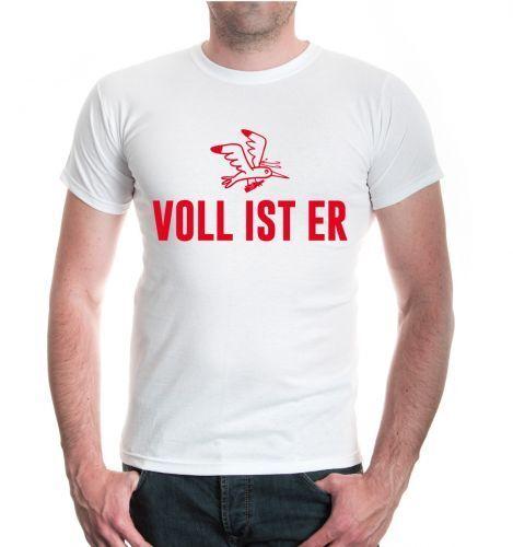 Herren Unisex Kurzarm T-Shirt Voll ist er Kirmes Disco Party Funshirt betrunken