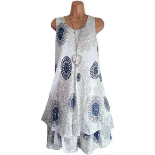 Damen Boho Strandkleid Kleider Minikleid Tunika Sommerkleid Ärmellos Longtop 46