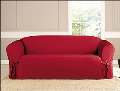 MICRO SUEDE SLIPCOVER, FURNITURE PROTECTOR COVER, 3 SIZES, RUBY RED, KASHI HOME