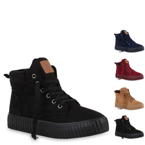 893200 Gefütterte Damen Sneakers High Winter Schuhe Profil Sohle New Look