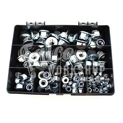 200 Assorted Zinc Nylon Insert Locking Nuts M5 M6 M8 M10 M12 With Flange Kit