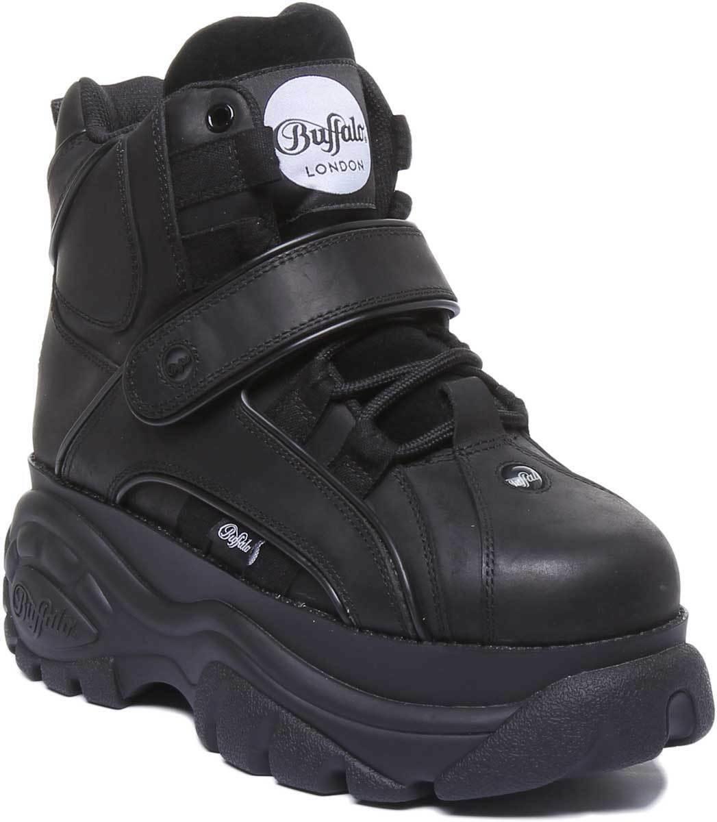 Buffalo 1534061 Women Leather Matt Hook Platform shoes In Black Size UK 3 - 8