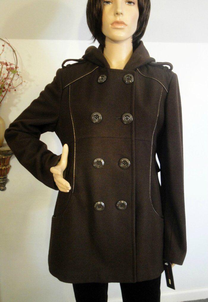NEW MISS SIXTY DARK BROWN WOOL BLEND COAT - SIZE XL