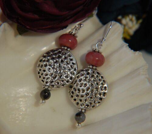 Pink Rhodonite /& LABRADORITA piedra preciosa moneda de textura /& Pendientes De Plata
