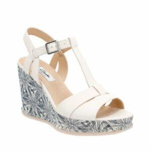 Clarks Adesha River White Leather Ladies Sandals Size Uk 6.5 D