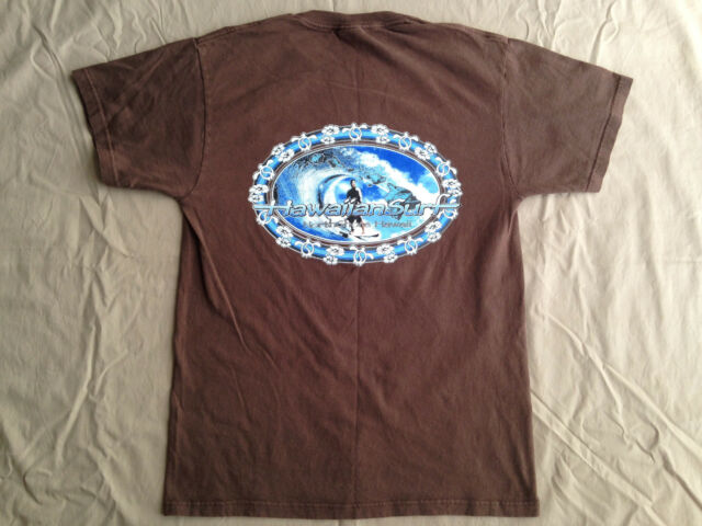 Hawaiian Surf Mens Shirt North Shore Hawaii Surfing Brown Size M 100% Cotton