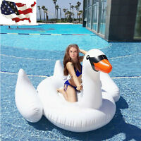 Swimming Lounge Pool Kids Adults Rideable Raft Swan Inflatable Float Toy