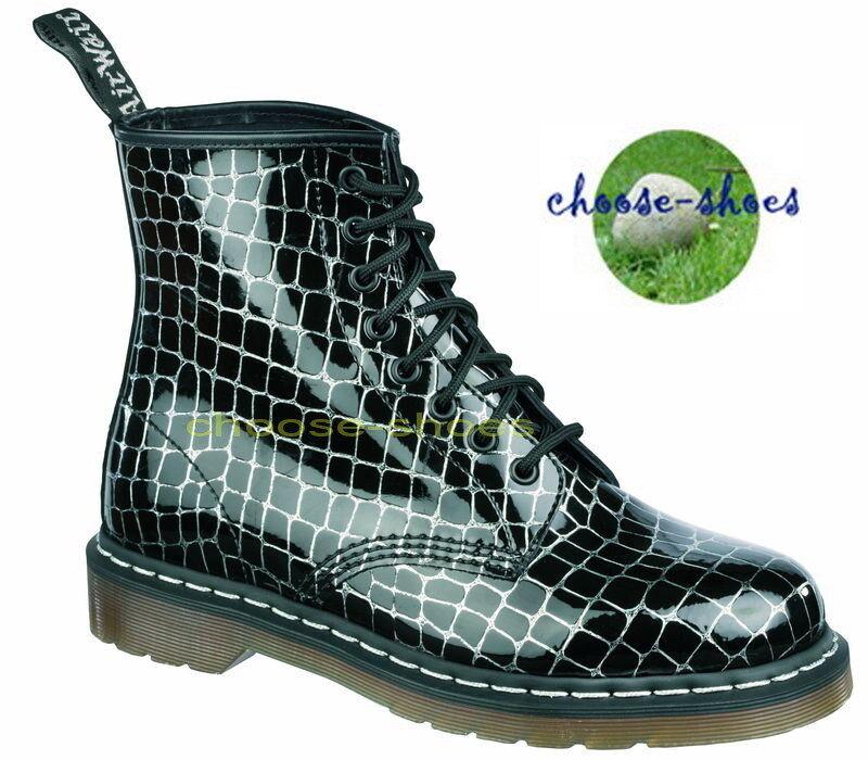 DOC DR. MARTENS   8-LOCH STIEFEL  1460 PATENT 10072024 schwarz Silber Croc