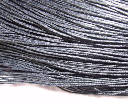 5 metres black waxed cotton cord 4 mm round for plaiting bracelet multi-purpose