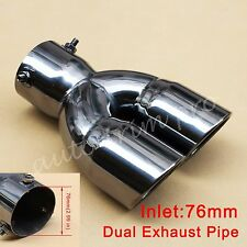 """76mm 3"""" Inlet Universal Rear Muffler Tail Exhaust Tip Pipe Dual Outlet Accessory"""