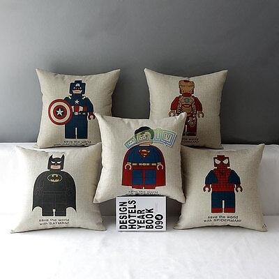 Cute Ironmen Superman Batman Cotton Linen Throw Pillow Case Cushion Cover Decor