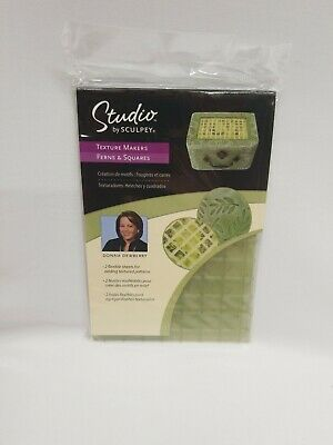 New Sculpey Texture Makers Ferns & Squares Donna Dewberry 2 Different 4x6 Sheets 2019 Official