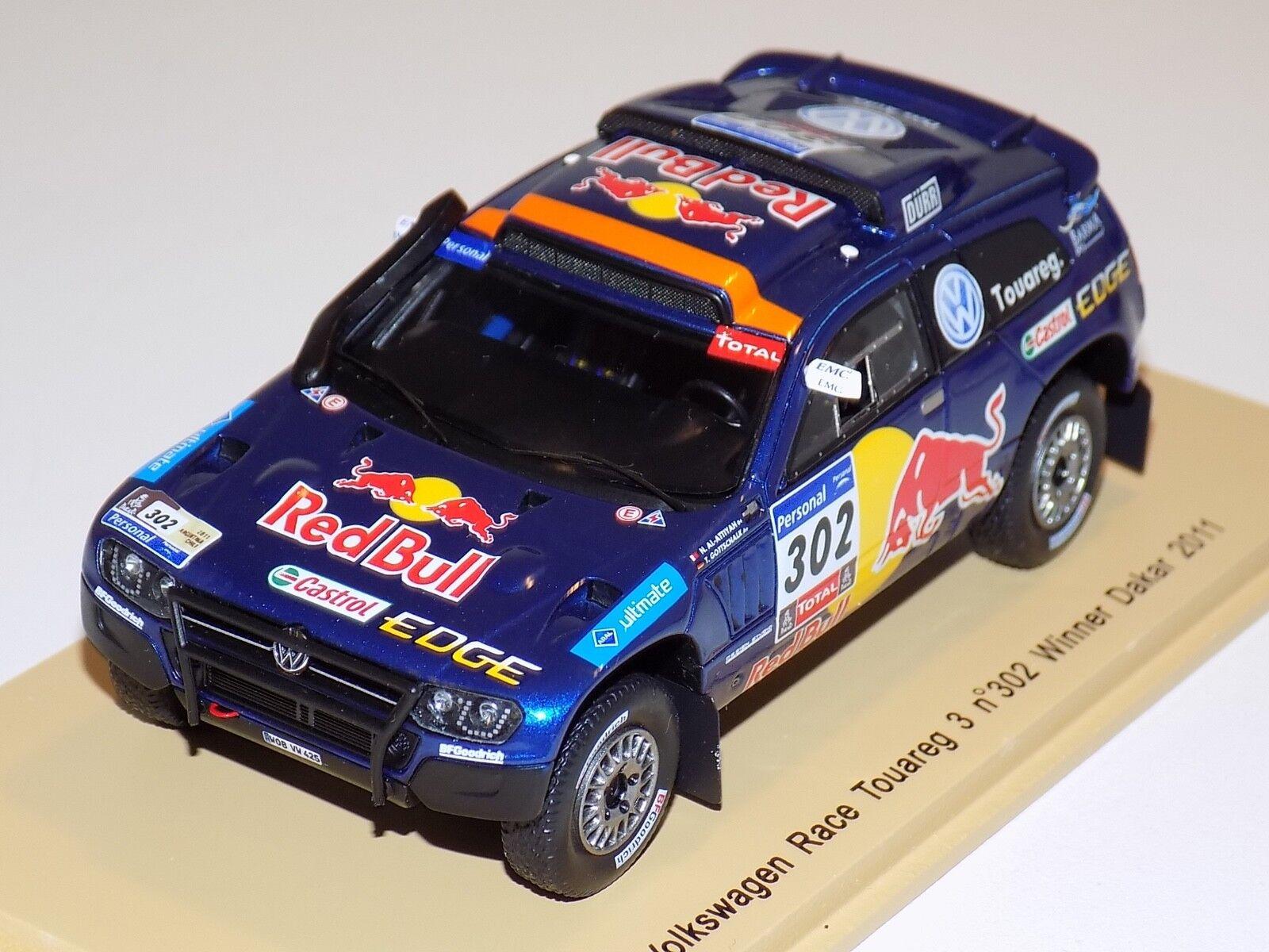 alta calidad y envío rápido 1 43 Spark Spark Spark Volkswagen Race Touareg coche  302 ganador del Dakar 2011 S0823  varios tamaños