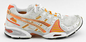 Details about WOMENS ASICS GEL NIMBUS 8 RUNNING SHOES SIZE 8 WHITE ORANGE SILVER TN685