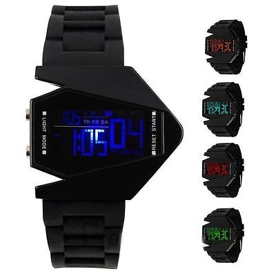 Militär Herren Uhr Fliegeruhr Armbanduhr Digital 6-LED Silikon Armband Sport