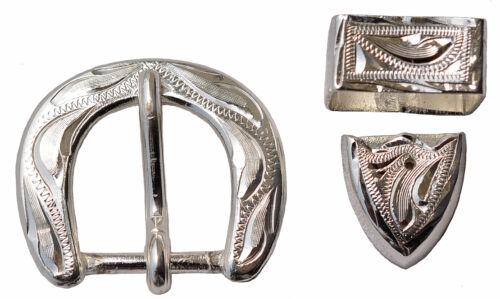 """Wide T231 Hand Engraved Silver Buckle Loop /& Tip Set 5//8/"""""""