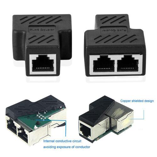 RJ45 Ethernet LAN Network Y Splitter Double Adapter 3Ports Coupler Connector-US