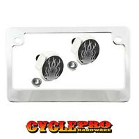Chrome Metal Motorcycle License Plate Frame Hex Tag Bolt Kit - Hot Rod Flames Gr