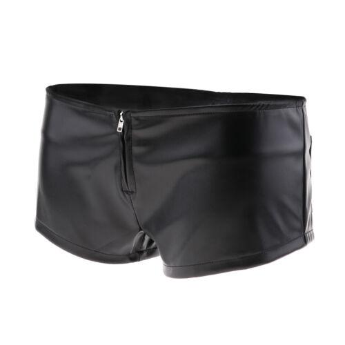Women/'s Leather Booty Shorts Zipper Mini Shorts Hot Pants Knickers Rave Club