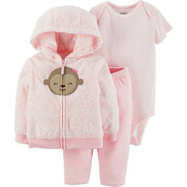 97ee7a716fc6 Child of Mine by Carter's Baby Girl Microfleece Cardigan, Bodysuit, and  Pants, 3