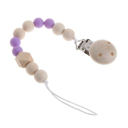 Baby Newborn Kids Wooden Pacifier Clip Chain Strap Dummy Soother Nipple Holder