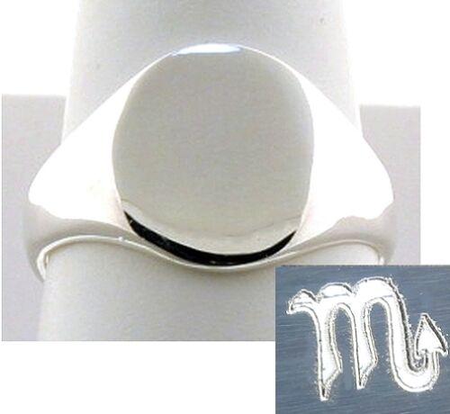 Uni-Sexe 13 mm Personnalisé Gravé Horoscope Zodiaque Symbole Bague argent 925 Taille 6