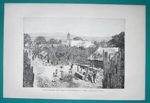 MEXICO-Indian-Village-at-Huexoculco-Pueblo-1891-Antique-Print-Engraving