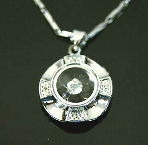 Spinning-Flower-Diamond-Chain-Beautiful-Ladies-Womens-Stainless-Steel-Necklace