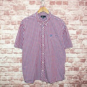 FRED-PERRY-Men-039-s-Short-Sleeve-Button-Down-Shirt-Blue-Red-Gingham-Sz-2XL