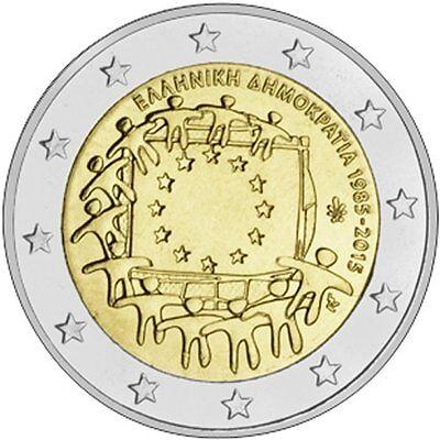 GREECE 2 € common commemorative euro coin 2015 EU flag 30