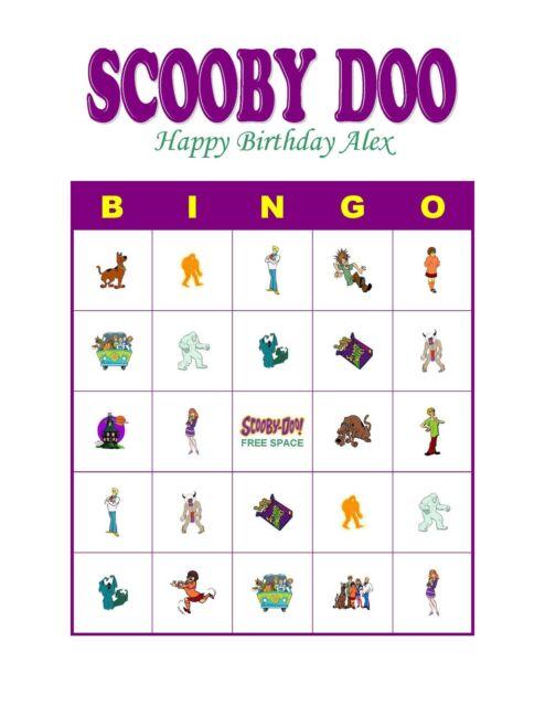 Scooby Doo Birthday Party Game Bingo Cards Ebay