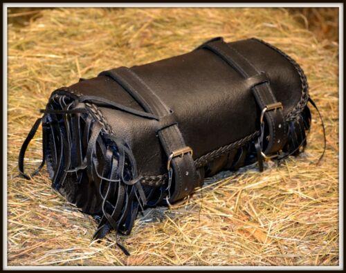 Sacoche de fourche en Cuir Souple avec Franges pour moto custom harley NEUF