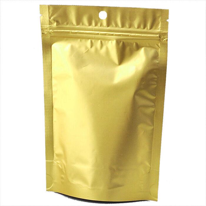 100 x Reißverschluss Grip Taschen Aufstehen Beutel golden - 12CMx20CM