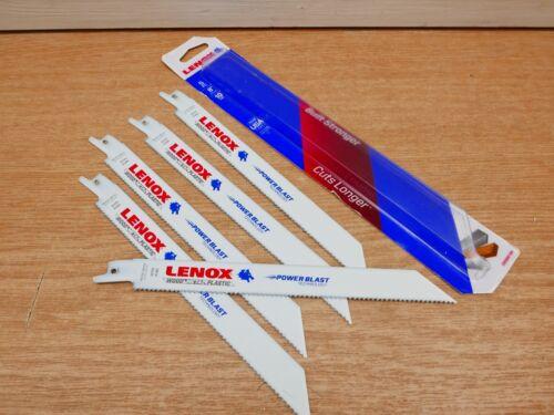 "5 x LENOX 8/"" 10 TPI POWERBLAST GP CUTTING RECIP SAW BLADES 20580810R"