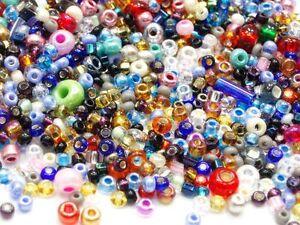 20-Gramm-Preciosa-Boehmische-Roccailles-Mix-Rocailles-Glassbeads-1990