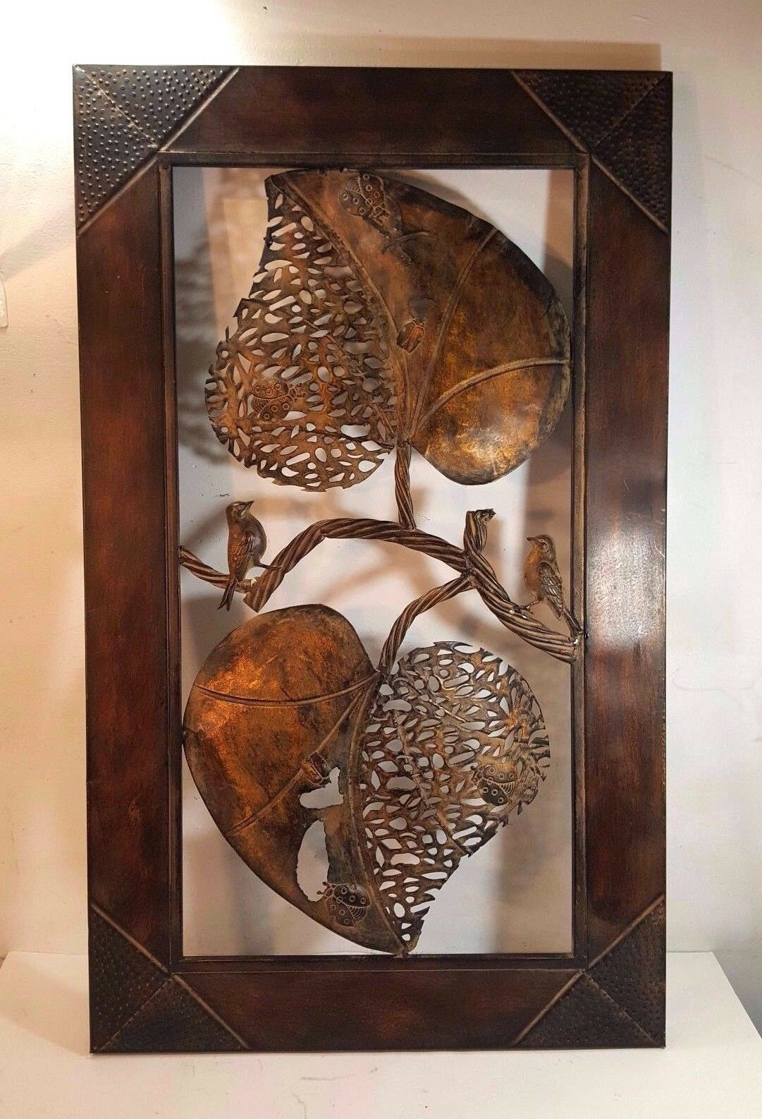 BRONZE FINISHED ORNATE IRON WALL HANGING 33.5  X 20  MUST SEE