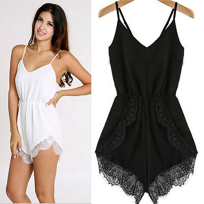 Latest Women Strap Sleeveless Lace Chiffon Party Jumpsuit Rompers Playsuit